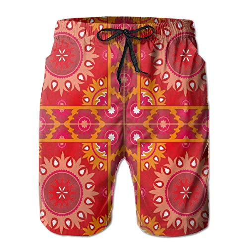 ZMYGH Men's Sports Beach Shorts Board Shorts,Artistic Oriental Frames Squares with Asian Decorative Elements Symmetric Tile,Surfing Swimming Trunks Bathing Suits Swimwear,XX-Large