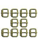 HAND Set di Tono Ottone Antico 10 Metallo Quadrato Fibbie per Cinture, Scarpe, Stivali, Borse e Accessori - 26 x 22 mm, Prende Una Cinghia Fino a 20 mm Wide