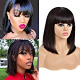 Natural Human Hair Short BoB Wigs With Bangs Brazilian Straight Remy Human Hair blonde Bob Wigs None Lace Front 150 Density Glueless Machine Made Wig for Black Women(10, natural)