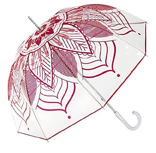 Paraguas Cacharel de mujer transparente con estampado'Mandala'