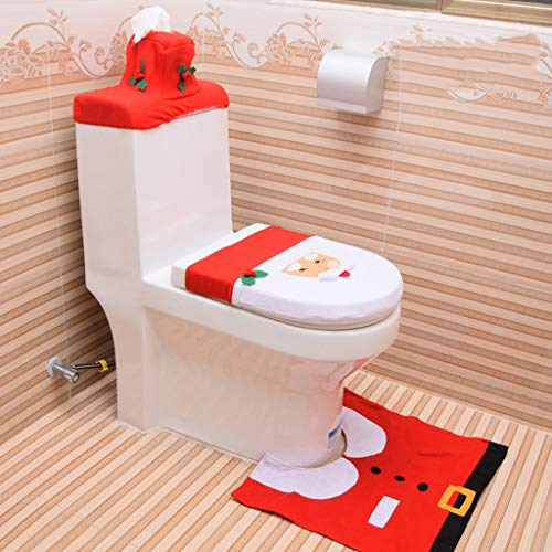 Lemoning Christmas Decorations for Living Room, 3Pc Christmas Closestool Cover Santa Claus Toilet Seat and Tissue Cover Set