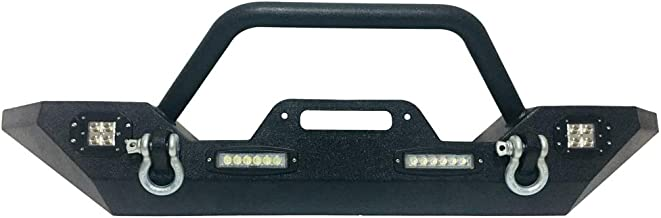 Autoforever Front Bumper Fit for 2007-2017 Jeep Wrangler JK Bumper with 4X LED Lights