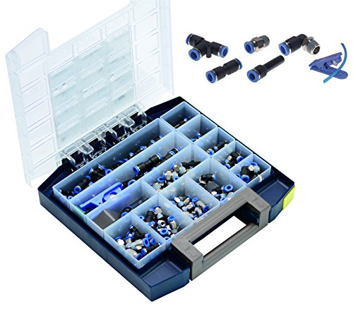 Preisvergleich Produktbild 160-teiliges Multibox IQS-Steckanschlüsse Pneumatik Steckverschraubung Steckverbinder Schlauchabschneider