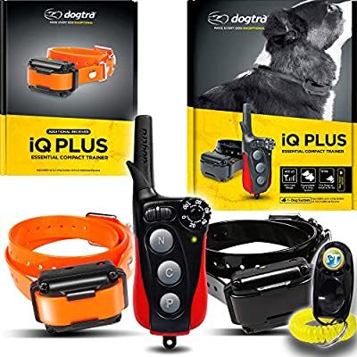 Dogtra IQ Plus+ 2-Dogs Remote Training System - 400 Yard Range, Waterproof, Rechargeable, Static, Vibration - Includes PetsTEK Dog Training Clicker
