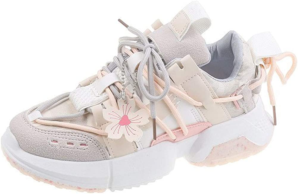 Vimisaoi Fashion Sneakers for Women, Lace Up Round Toe Flat Sports Running Tennis Walking Shoes