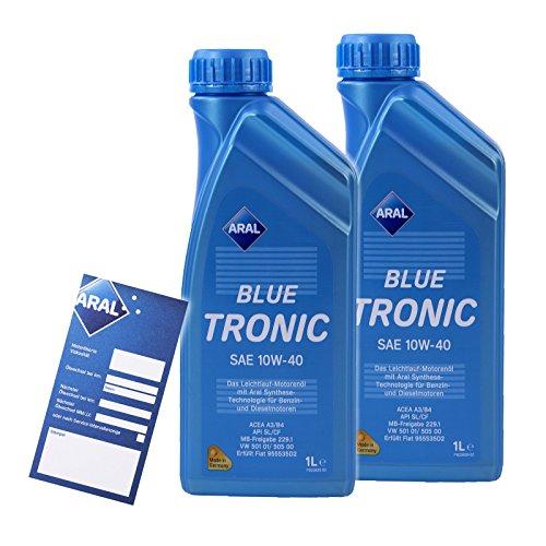 2x 1 L LITER ARAL BLUETRONIC BLUE TRONIC 10W-40 MOTOR-ÖL MOTOREN-ÖL 32005355