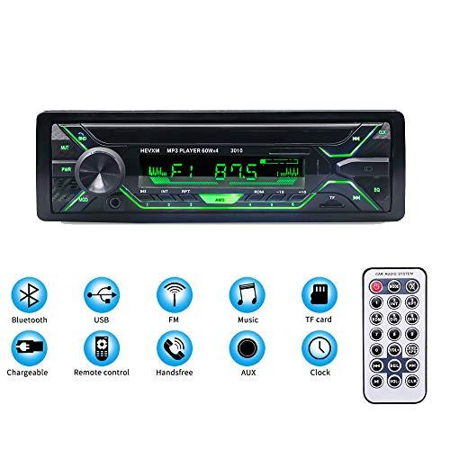 Autoradio Bluetooth FM Radio de Coche 60Wx4 Estereo Manos Libres 7 Color Retroiluminación con Control Remoto Apoyo de Reproductor MP3 TF USB Funciona con DC 12V