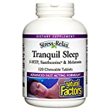 Stress-Relax Chewable Tranquil Sleep by Natural Factors, Sleep Aid, Tropical Fruit Flavor, 120…
