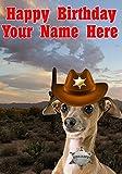 Tarjeta de felicitación de cumpleaños tamaño A5 personalizada con diseño de perro galgo italiano j717 vaquero sheriff