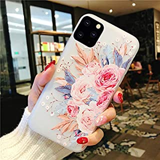 Topwin iPhone 11 Pro 5.8'' 2019 Floral Case, 3D Relief Flower Cute TPU Silicon Phone Case Ultra-Thin Slim Lightweight Cover for Girls for Apple iPhone 11 Pro 5.8'' 2019 (Rose)