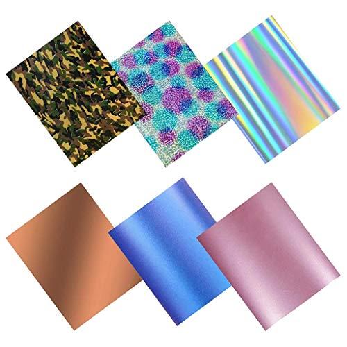 6er Set Glitzer Heat Transfer Vinyl Wärmeübertragung Vinyl Textilfolien Transfer-Papier Transferpapier zum Aufbügeln auf Textilien - für T-Shirts, Hüte, Kleidung, Hitzepresse 25x30,5 cm
