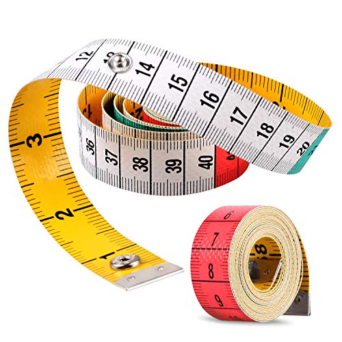 Measure Tape, Flexible Tape Measure, Tape Measure for Body, Double Scale Measurement Tape for Sewing Measuring Tape with Snap Button Double Scale Colorful 60 in /150 cm