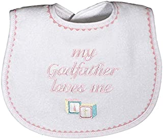 Raindrops My Godfather Loves Me Embroidered Bib, Pink