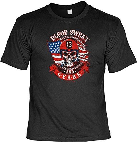 Cooles T-Shirt Biker / Motorrad Größe S -- 5XL unisex: Blood T-Shirt + Gratis Biker Urkunde !! Gr: XL Farbe: schwarz