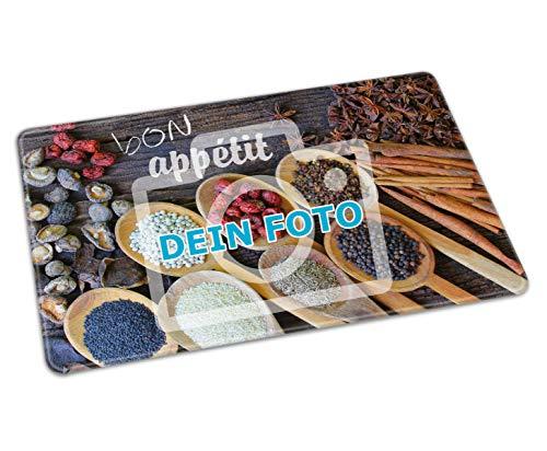 Glasschneidebrett mit eigenem Foto selbst gestalten (Küchenbrett aus Glas mit individuellem Bild Bedruckt, per Thermo-Sublimationsdruck, rutschfest, ideal als Fotogeschenk) (Klein)