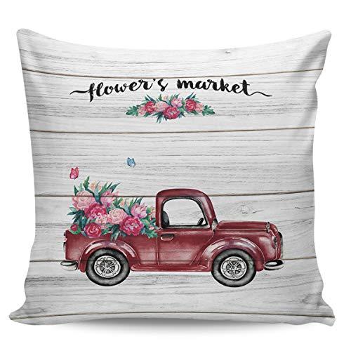 Scrummy Fundas de almohada de 66 x 66 cm, diseño de camión rojo de flores, estilo vintage, diseño de grano, de madera, para decoración del hogar