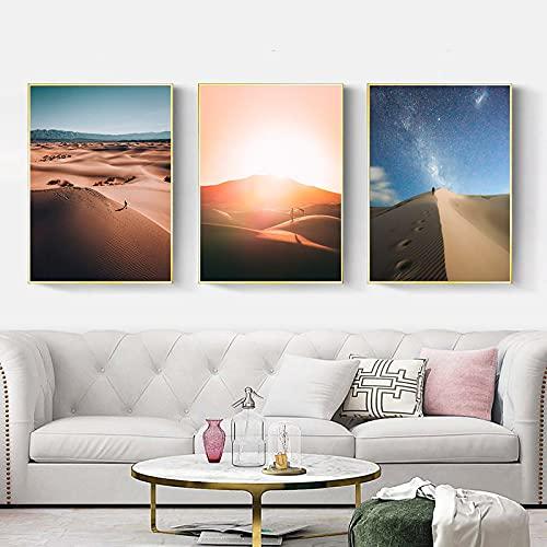 El sol abrasador, gente caminando en el desierto, póster de estilo retro, viajes por el desierto, pared de pintura al óleo, decoración de la habitación del artista 40x55cm-3 piezas sin marco