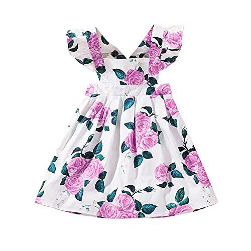 EpicLife Vestido floral de verano para niñas pequeñas con volantes de una sola pieza, sin mangas, cuello cuadrado, vestido casual, blanco, 3-4 Años
