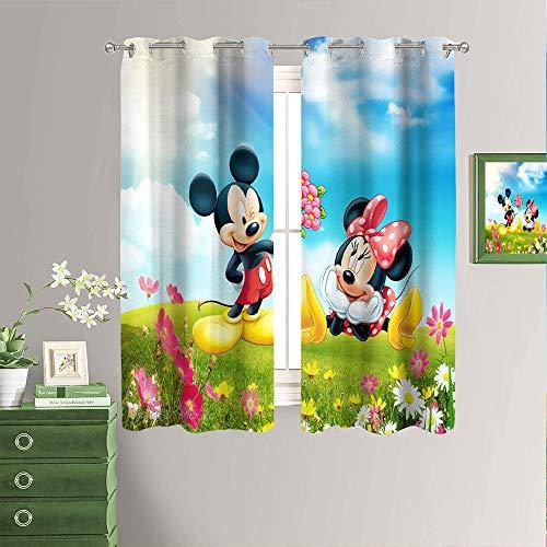 Cortinas opacas con ojales en la parte superior con diseño de Mickey Mouse y Minnie Mouse, de 42 x 54 pulgadas