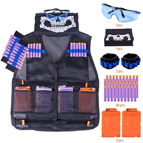 Tosbess 46 Piezas Chaleco Táctico Niños Kit de Chaqueta Táctica para Pistola Nerf Serie N-Strike Elite Juego de Batalla Nerf niños