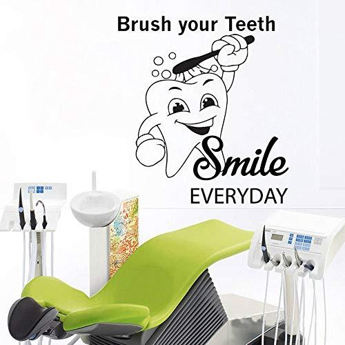 HGFDHG Calcomanía de Vinilo diseño de habitación Mural de Dientes Pegatinas de Pared clínica Dental Cepillo de Cuidado Dental Sonrisa Papel Tapiz decoración de la habitación