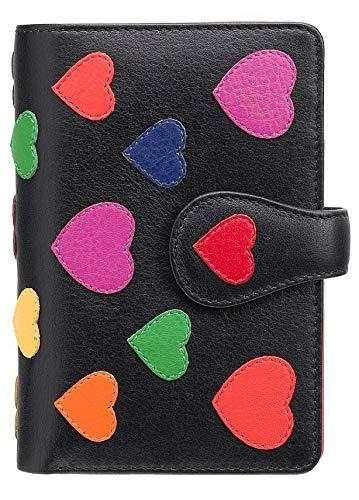Visconti ® Leder Portemonnaie Damen RFID Schutz Geldbeutel Damen Geldbörse Bifold Mehrfarbig Portmonee in Geschenk-Box Polka Multicolor Purse (P1) (Herz)