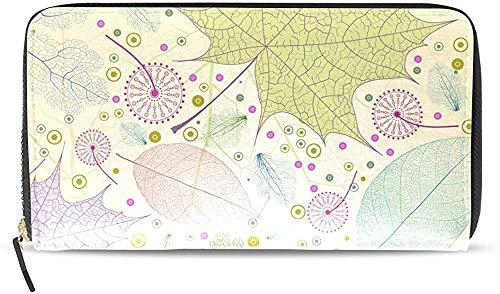 Keyboard cover Cartera de piel con cremallera y tarjetero para mujer, diseño de hojas, U0026 One_color. Talla única