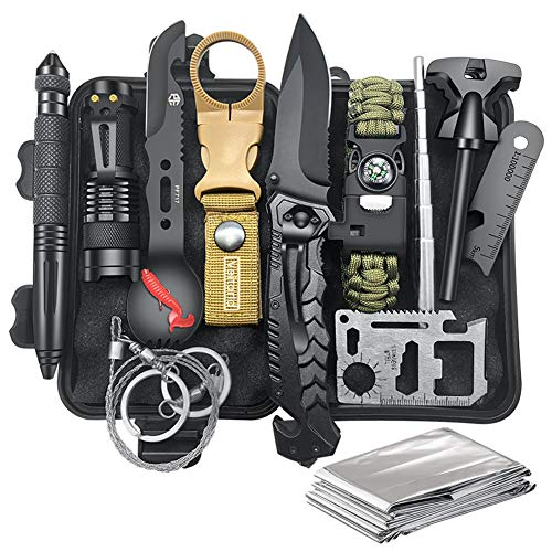 Survival Gear Kit Camping Gear, 12-in-1 EDC Survival Earthquaker Kit, SOS Emergency...