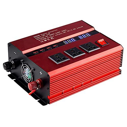 Inversor de corriente 3000W DC 12V a 220V AC Convertidor de coche 12V con 4 USB 3 enchufes Adaptador de coche con pantalla LED