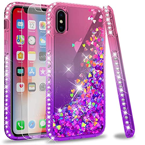 LeYi Compatible for iPhone X Case, iPhone Xs Case with Tempered Glass Screen Protector [2 Pack] for Girls Women, Glitter Liquid Cute Clear Phone Case for iPhone X/iPhone Xs/iPhone 10, Pink/Purple