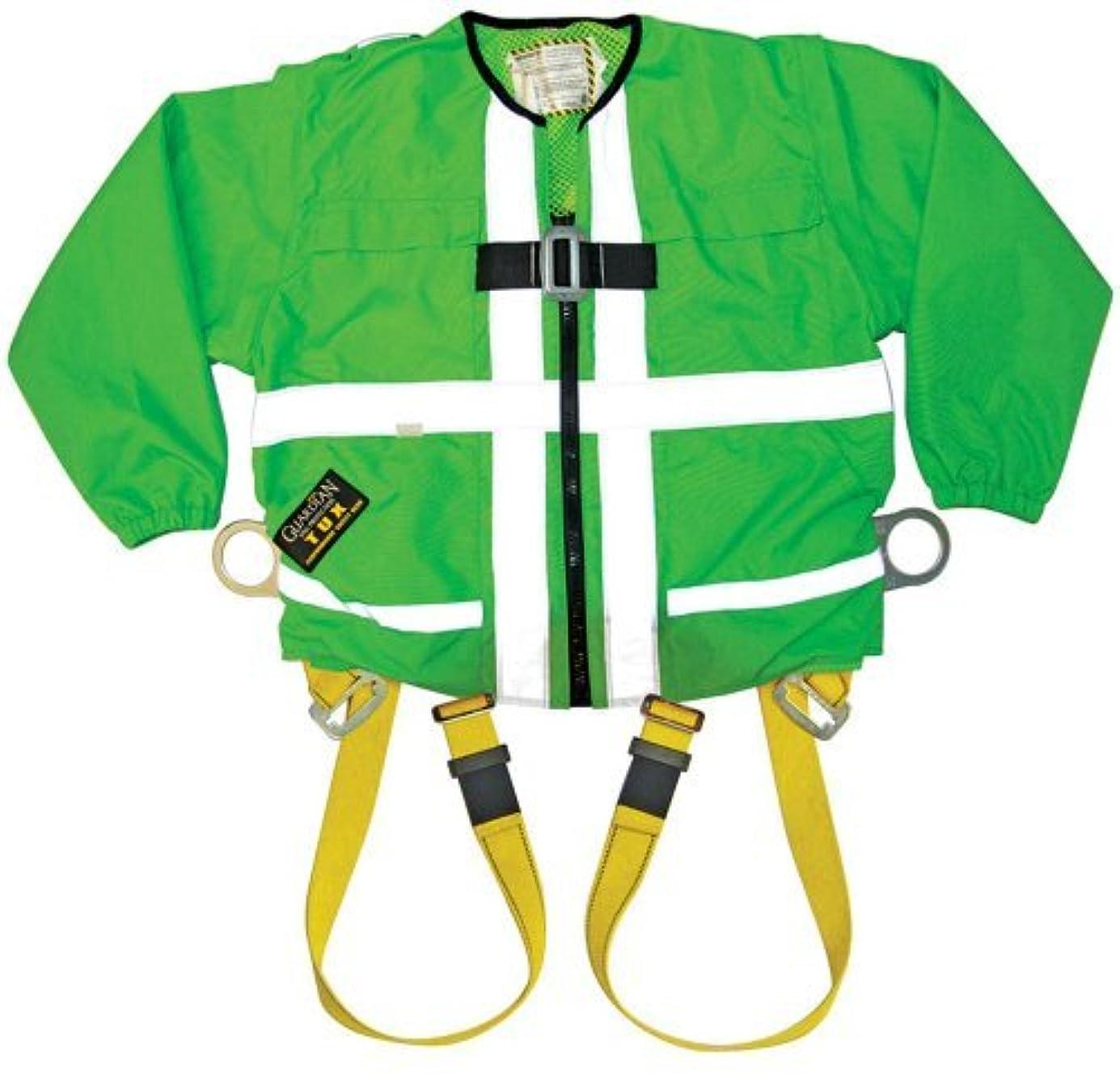 石鹸タクシーセッティングGuardian Fall Protection 13200 Hi-Viz Green Tux Harness with Zip On/Off Long Sleeves,Small [並行輸入品]