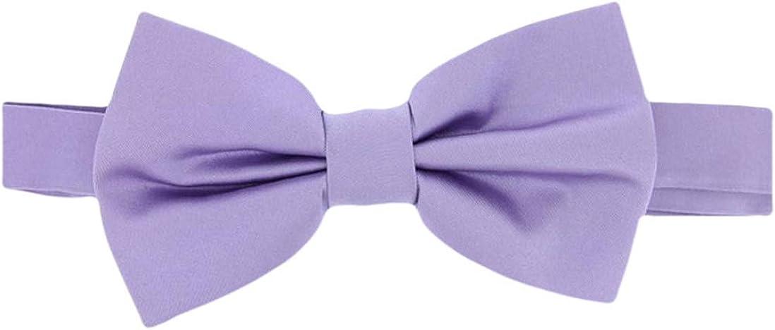 David Van Hagen Mens Plain Satin Silk Bow Tie - Light Lilac