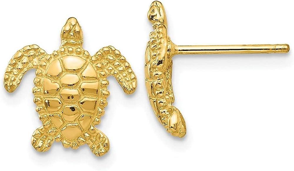 14k Yellow Gold Sea Turtle Earring (L-11 mm, W-11 mm)