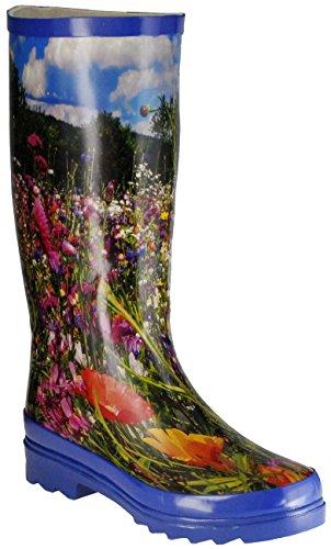 ConWay Gummistiefel blau Regenstiefel Damen Stiefel Schuhe Wiese, Farbe:blau, Größe:37 EU