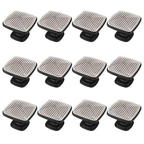 Yumansis Perillas y manijas de gabinete Rayas Verticales Tiradores de Puerta Perillas Decorativas Regalo Cuadrado de Moda para Cocina de Dormitorio 12 Piezas 3x2.1x2 cm