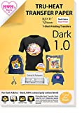TransOurDream Tru-Iron on Heat Transfer Paper for Dark Fabric (12 Sheets, 8.5x11') T Shirt Transfers Paper for Inkjet Printer Printable Heat Transfer Vinyl for T-Shirts (TOD-7-12)