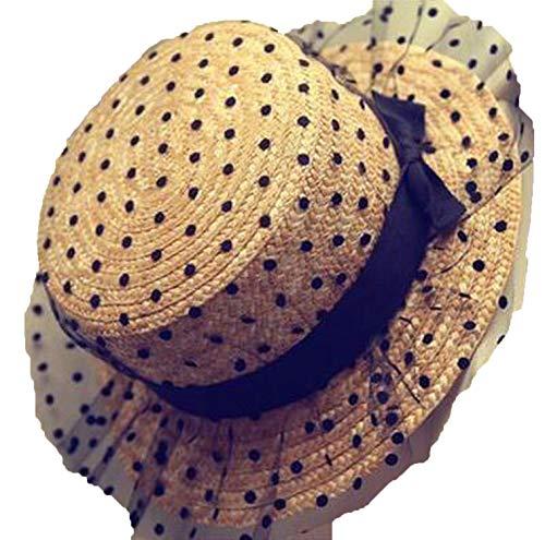 Chapeau de Soleil Chaud Noir Dentelle Panama Arc Fait à la Main Femmes Bord Plat Bowknot Paille Cap Plage Gros Bord Chapeau Casual Fille D'Été Cap 56-60 cm 1