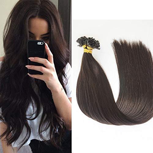 Extension Cheveux Naturel Kératine Extension A Chaud Lisse 100 Mèches [1g/Mèche] Pre-Bonded Nail U Tip Rajout Cheveux Mèche Kératine - #2 Brun Foncé - 20 Pouces