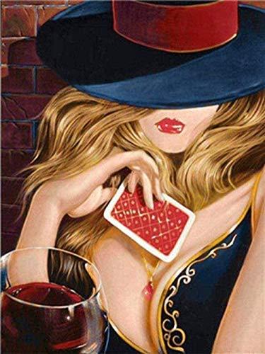 Wdsjxd Casino Wine Poker Sexy Girls Pintura por Kits de números DIY Pintura Digital para Colorear en Lienzo Pintura al óleo Hecha a Mano por Usted 40x50cm Sin Marco