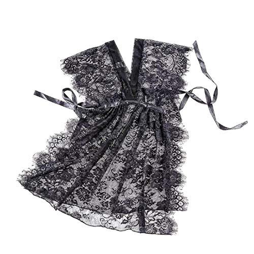 Disfraz de mujer coqueteando Damas camisn de encaje sexy negro de verano cardigan de seda de hielo adulto siams caliente transparente camisn tamao M encantador y halagador sexy suave Ropa ertica