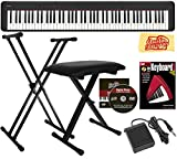 88-key Scaled Hammer Action 64 notes polyphony 10 built-in tones Chordana Play App for Piano Bundle includes Adjustable Stand, Bench, Sustain Pedal, Instructional Book, Austin Bazaar Instructional DVD, and Polishing Cloth