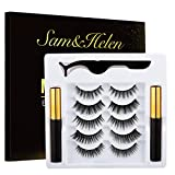 Magnetic Eyeliner and Lashes Kit, Magnetic Eyeliner for Magnetic Eyelashes Set, Reusable False Lashes [5 pairs]