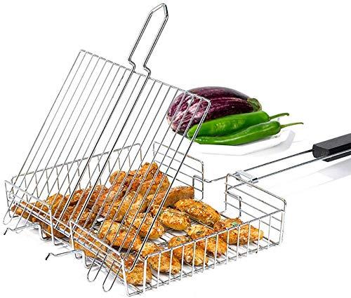 Wzmdd Grote BBQ Basket Roosters met Flip Houten Handvat Grilling Rack Rechthoek Opvouwbare Stand Barbecue Burger Groente Worst Voedsel Vlees 430 RVS - 68 x 32 x 5.5CM