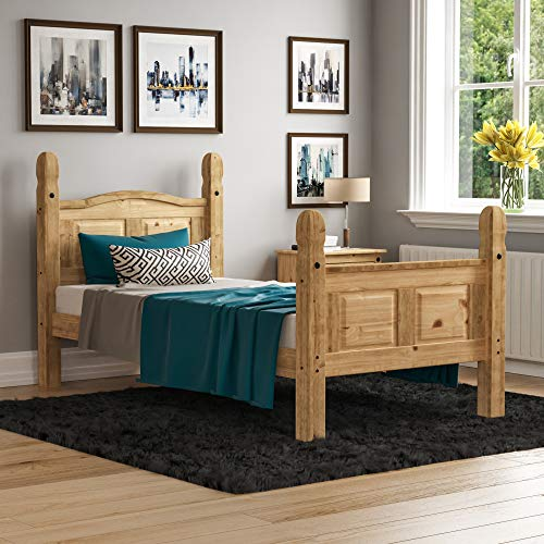 Vida Designs Corona Single Bed, 3 ft, High Foot End Bed Frame, Solid Pine Wood
