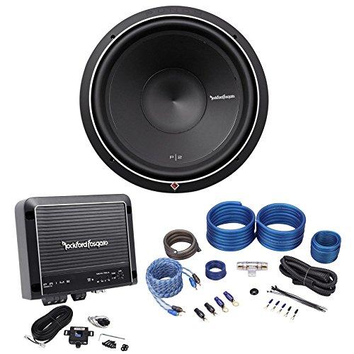 "Rockford Fosgate Punch P2D4-15 400w RMS 15"" Car Subwoofer+Mono Amplifier+Amp Kit"
