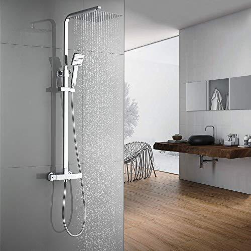Auralum Duschsystem mit Thermostat Mischer, Edelstahl klassische Temperatur Duschset mit 25CM Regenduschen Duschkopf, Duschschlauch Einstellbare Duschstange