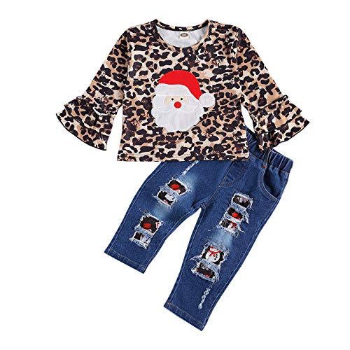 Toddler Kids Baby Girls Christmas Clothes Ruffle Long Sleeve Santa Claus Top Ripped Jeans Pants 2Pcs Outfits Set (Leopard,4-5T)