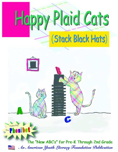 Happy Plaid Cats Stack Black Hats:The