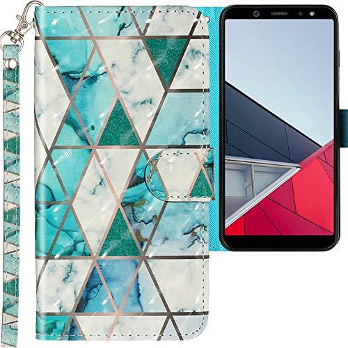 CLM-Tech Coque Compatible avec Samsung Galaxy A6 Plus 2018 - Portefeuille en Cuir synthétique avec Support et Cartes Compartiments, Marbre Turquoise Multicolore