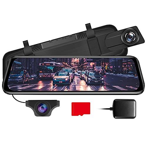 "AZDOME 10"" Spiegel Dashcam mit Rückfahrkamera, GPS, Parkhilfe, Super Nachtsicht, Loop-Aufnahme, G-Sensor, Parkmonitor, Micro SD Karte Autokamera Dual Lens[1296P, 170°Vorne; 720P, 150°Hinten](PG02)"